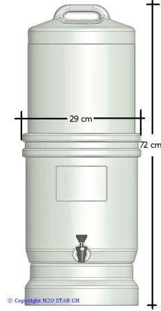 LP5 Wasserfilter Gesamtsystem mit Massangaben (Grafik)